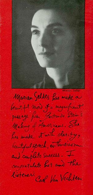 Marian Seldes Gertrude Stein Gertrude Stein The Making Of Americans