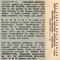 'Encoded Message/Radio Rabotnik' cassette cover