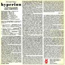 'Ansamblul Hyperion conducerea muzicală: Iancu Dumitrescu' liner notes