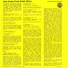Zulu Songs liner notes