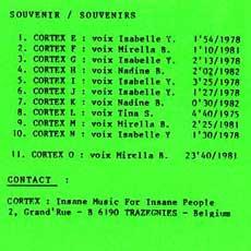 Cortex 'Souvenir/souvenirs' tracklist