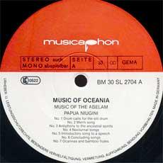 'Music of Oceania' side 1