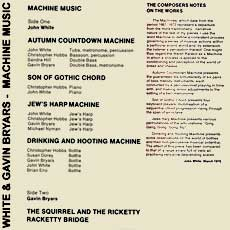 'Machine Music' info sheet