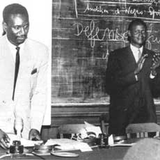Cheikh Anta Diop (left) and Alioune Diop, Paris, 1950s