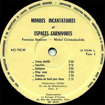 'Mondes Incantatoires et Espaces Carnivores' side 1