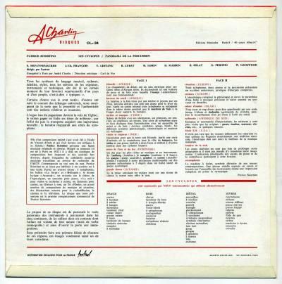 Patrice Sciortino 'Les Cyclopes' LP back cover