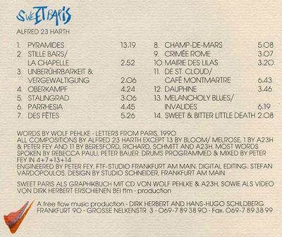 'Sweet Paris' CD tray card