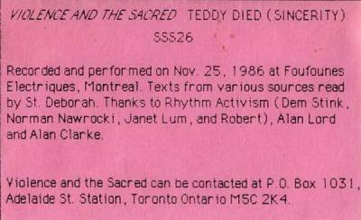 Teddy Died (Sincerity) info