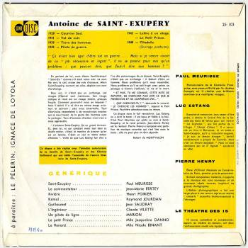 Saint Exupéry back cover