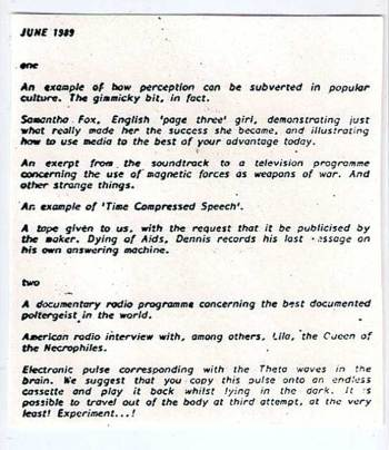Spiral cassette #2 - June 1989 tracklist