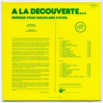 'A La Découverte...' LP back cover