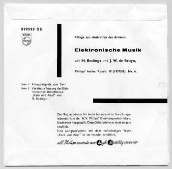 Henk Badings & JW de Bruyn - Elektronische Musik 7in single back cover