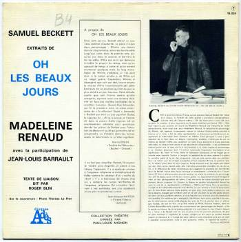 Samuel Beckett - Oh Les Beaux Jours LP back cover