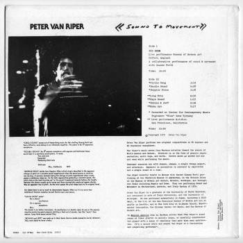 Peter Van Riper - Sound To Movement LP back cover