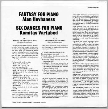 Alan Hovhaness/Komitas Vartabed - piano music LP back cover