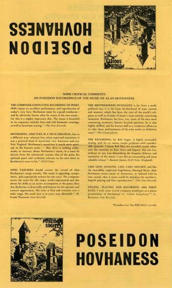Alan Hovhaness/Komitas Vartabed - piano music LP insert 1
