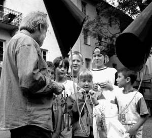 Pierre Mariétan with children, 1996