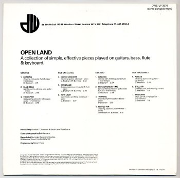 Open Land LP back cover