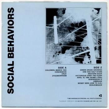Social Behaviors LP back cover