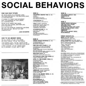 Social Behaviors LP insert