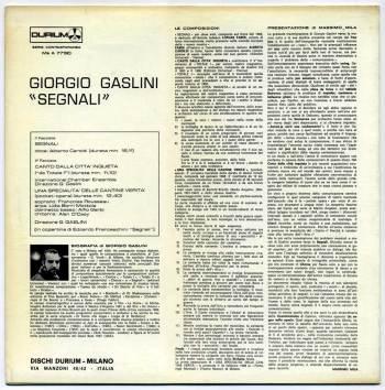 Giorgio Gaslini - Segnali LP back cover
