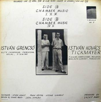 Grencsó Tickmayer Duo – Chamber Music LP back cover