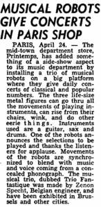Trio Fantastique, Billboard article, May 1954