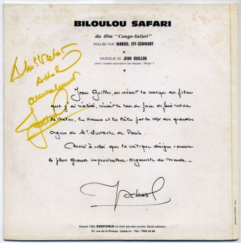 Jean Guillou - Biloulou Safari LP back cover