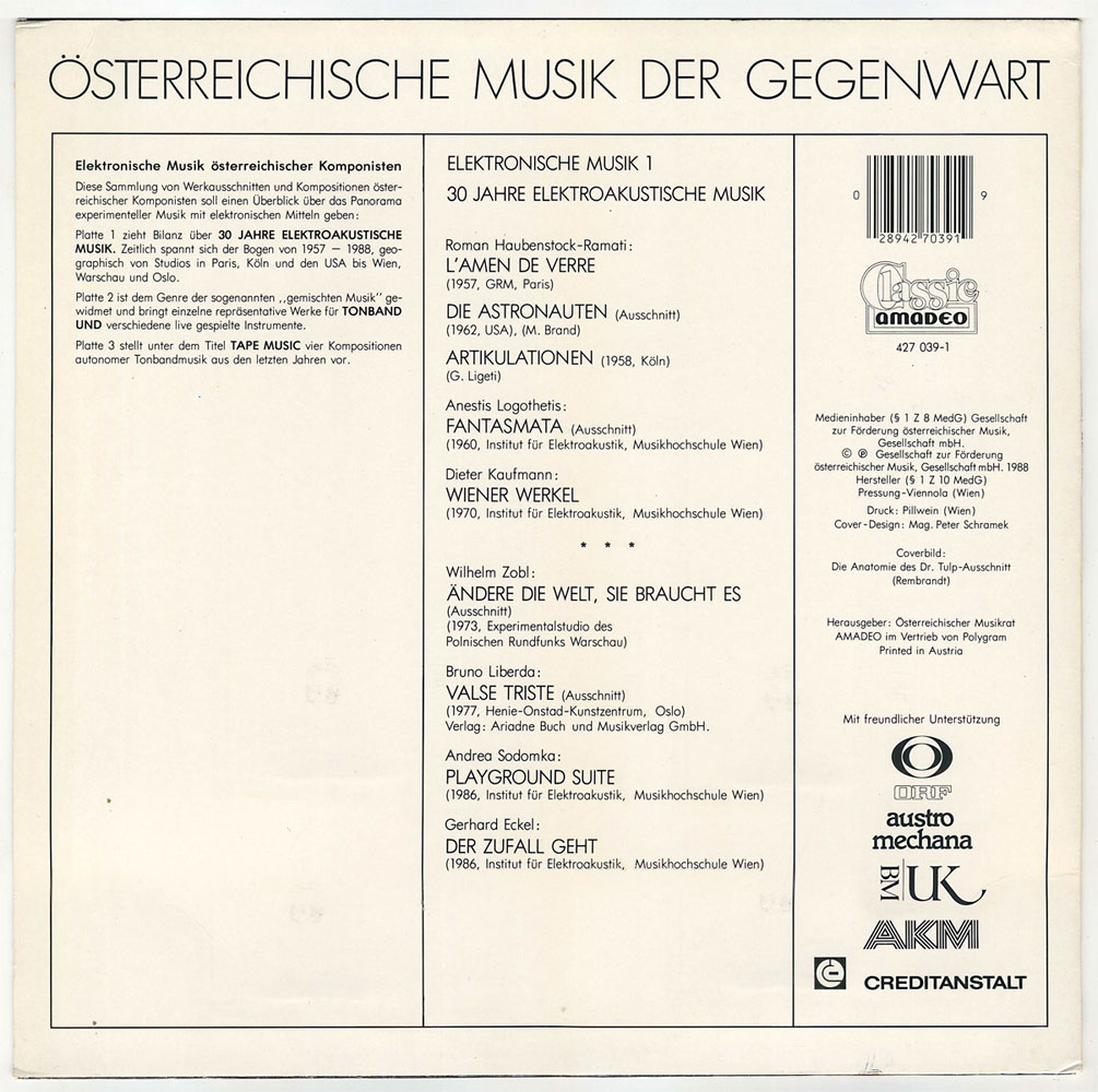 Various – Osterreichische Musik der Gegenwart: Elektronische Musik ...