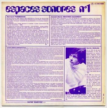 B. Parmegiani & JM Mestres Quadreny – Espaces-Sonores No.1 LP back cover