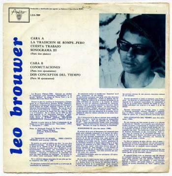 Leo Brouwer – La tradición se rompe LP back cover