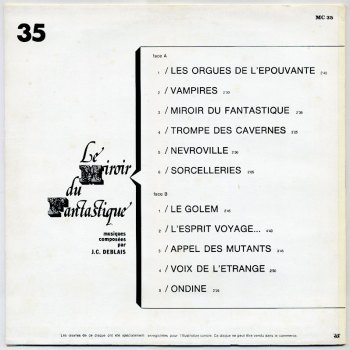 Jean-Claude Deblais – Le Miroir Du Fantastique LP back cover