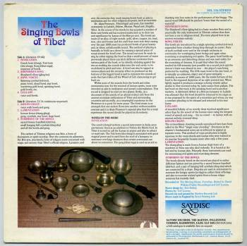 Alain Presencer – The Singing Bowls of Tibet LP back cover