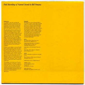 Bill Fontana - Field Recordings of Natural Sounds LP back cover