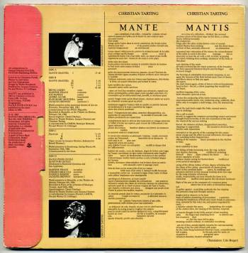 Jacques Diennet - Mante 2xLP back cover