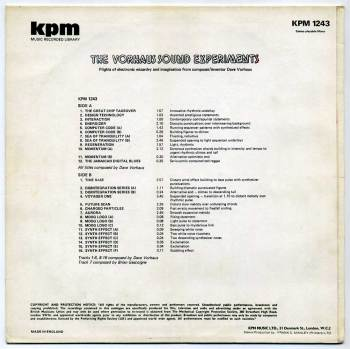 Dave Vorhaus - The Vorhaus Sound Experiments LP back cover