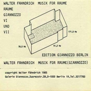 Walter Fähndrich – Musik für Raüme cassette front cover