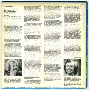 Alden Ashforth - Byzantia: Two Journeys after Yeats LP back cover