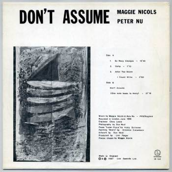 Maggie Nicols & Peter Nu – Don't Assume LP back cover