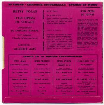 Betsy Jolas - D'un Opéra de Voyage 7in back cover