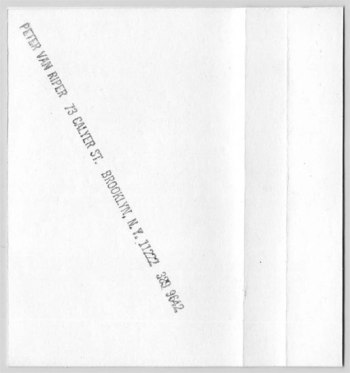 Peter Van Riper - Direct Contact k7 back cover