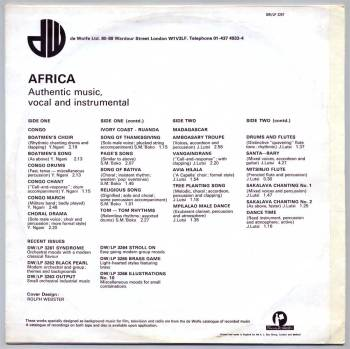 De Wolfe - Africa LP back cover