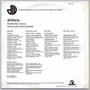 De Wolfe - Africa LP back cover