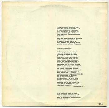 Herns Duplan - Expression Primitive LP back cover